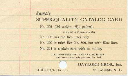 Library Catalog Cards